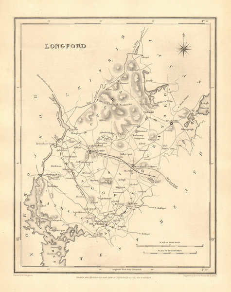 COUNTY LONGFORD antique map for LEWIS by CREIGHTON & DOWER - Ireland 1846