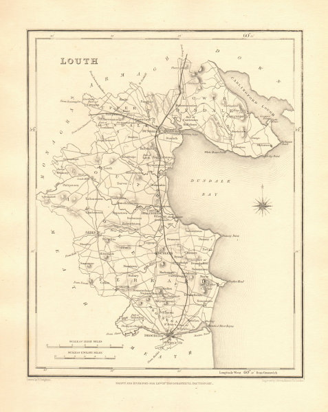 Associate Product COUNTY LOUTH antique map for LEWIS by CREIGHTON & DOWER - Ireland 1846 old