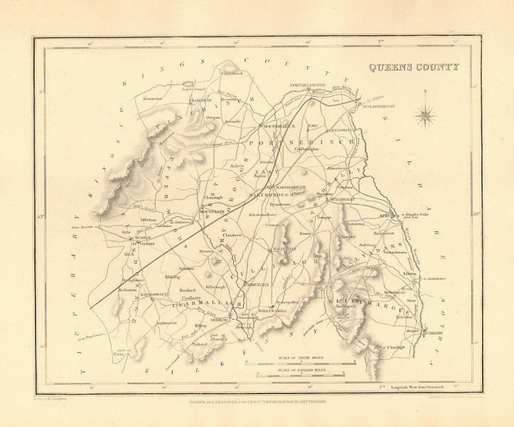 Associate Product QUEENS COUNTY (LAOIS) antique map for LEWIS - CREIGHTON & DOWER - Ireland 1846
