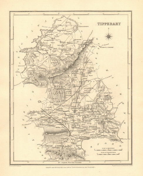 Associate Product COUNTY TIPPERARY antique map for LEWIS by CREIGHTON & DOWER - Ireland 1846