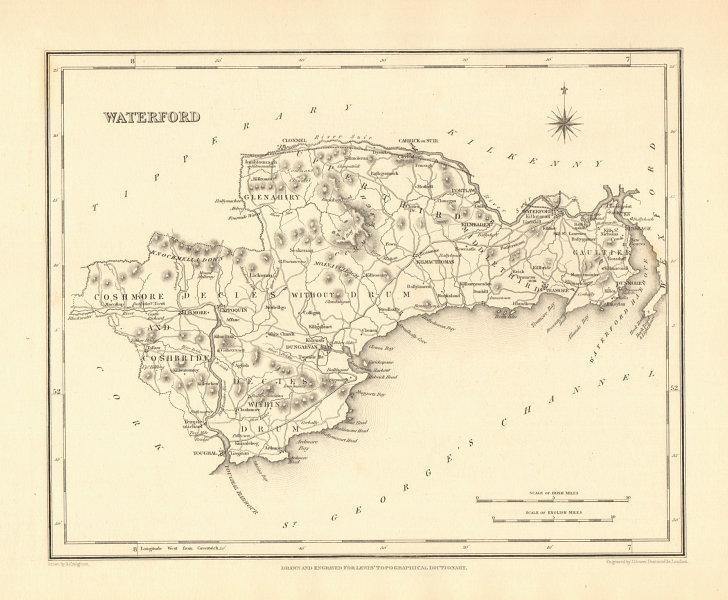 Associate Product COUNTY WATERFORD antique map for LEWIS by CREIGHTON & DOWER - Ireland 1846