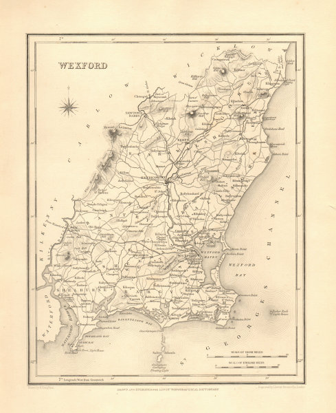 Associate Product COUNTY WEXFORD antique map for LEWIS by CREIGHTON & DOWER - Ireland 1846