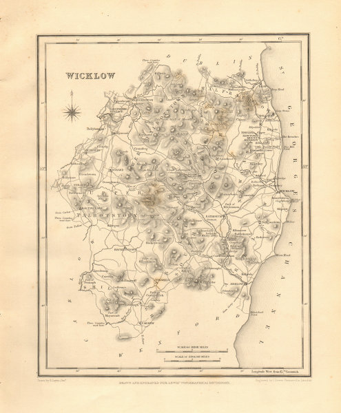 Associate Product COUNTY WICKLOW antique map for LEWIS by DOWER - Ireland 1846 old