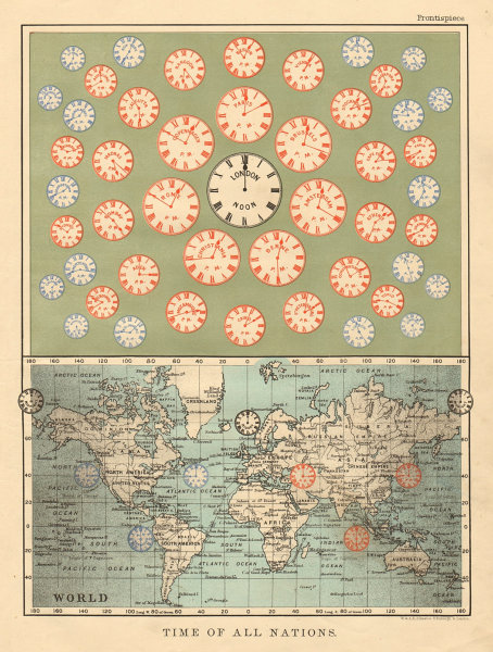Associate Product TIME OF ALL NATIONS predates UTC/standard hourly time zones JOHNSTON 1892 map