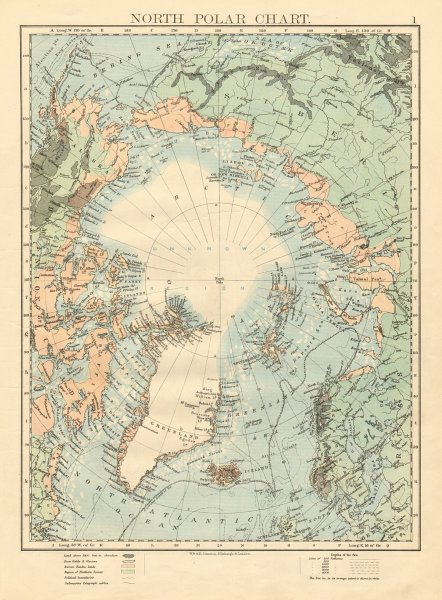 Associate Product NORTH POLAR CHART Explorers positions Greely 1882 JOHNSTON 1892 old map