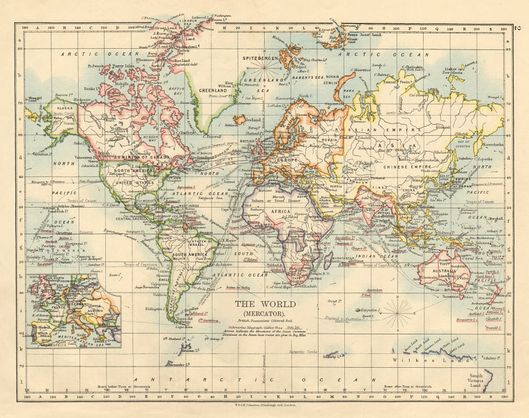 Associate Product BRITISH EMPIRE World Mercator Currents Steamship routes JOHNSTON 1892 old map