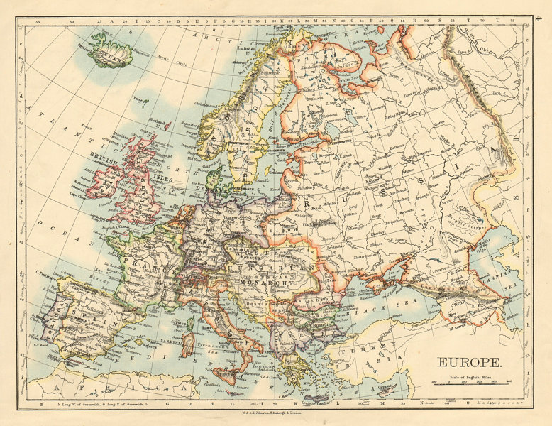 Associate Product EUROPE POLITICAL Austria-Hungary United Sweden & Norway JOHNSTON 1892 old map
