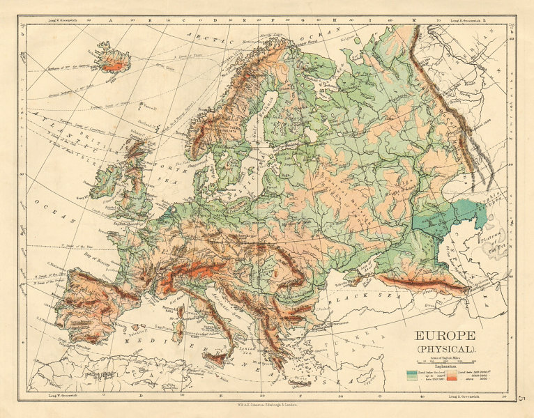 Associate Product EUROPE PHYSICAL Relief Ocean depths Key mountains Plains JOHNSTON 1892 old map