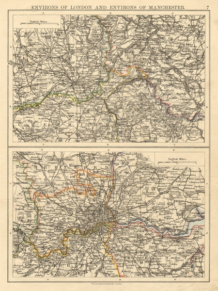Associate Product LONDON & MANCHESTER Environs Lancs Cheshire Middx Surrey JOHNSTON 1892 old map