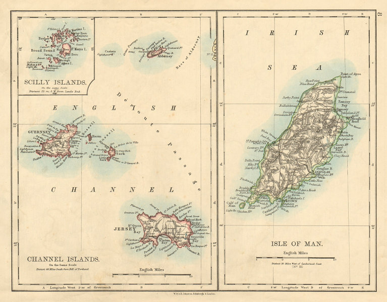 Associate Product BRITISH ISLANDS Isle of Man Channel Islands Jersey Guernsey JOHNSTON 1892 map