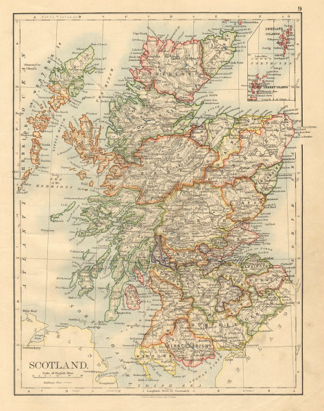 Associate Product SCOTLAND Counties Undersea telegraph cables JOHNSTON 1892 old antique map