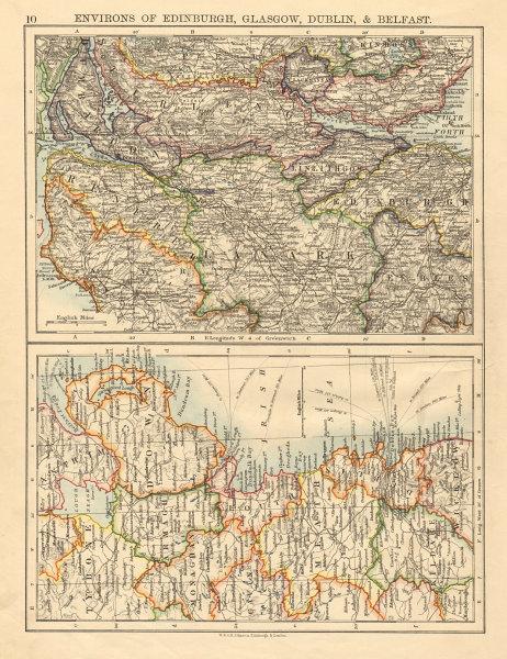 Associate Product SCOTTISH & IRISH CITIES Edinburgh Glasgow Dublin Belfast environs 1892 old map