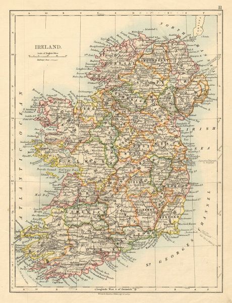 Associate Product IRELAND Showing counties Undersea telegraph cables JOHNSTON 1892 old map