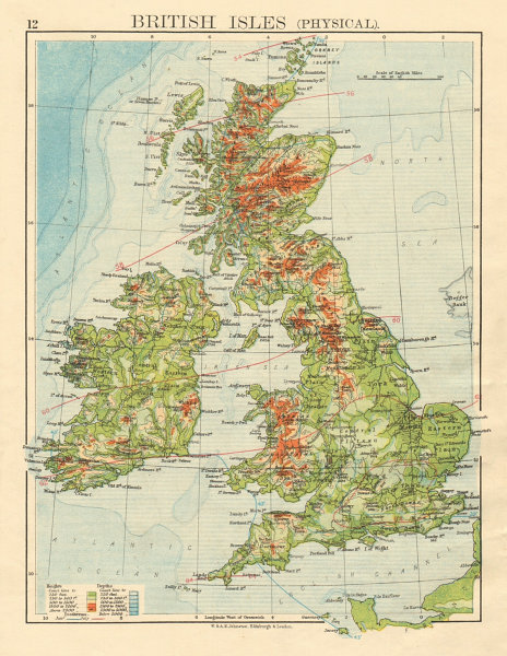 Associate Product BRITISH ISLES RELIEF Showing isotherms in January & July JOHNSTON 1892 old map
