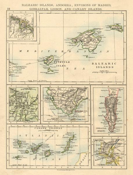 Associate Product IBERIA Balearics Canaries Gibraltar Andorra Madrid Lisbon JOHNSTON 1892 map