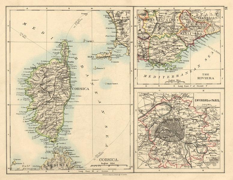 Associate Product CORSICA Riviera Côte d'Azur Paris environs France JOHNSTON 1892 old map