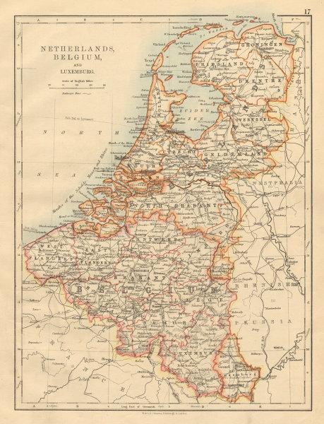 Associate Product BENELUX Netherlands Belgium Luxemburg Holland JOHNSTON 1892 old antique map