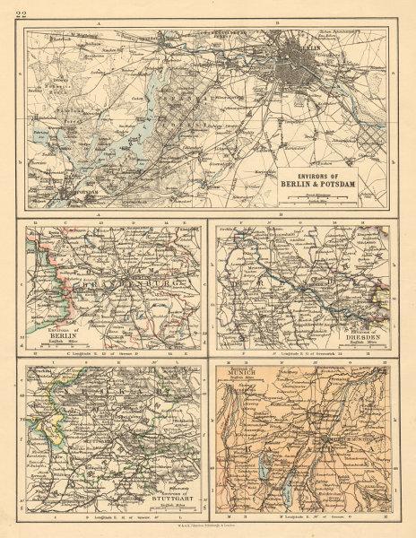 Associate Product GERMANY CITIES Berlin Potsdam Dresden Stuttgart Munich JOHNSTON 1892 old map