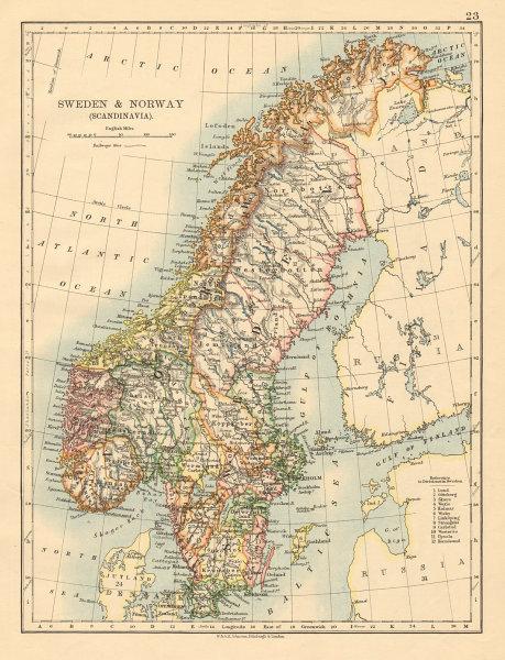 SCANDINAVIA Sweden Norway Railways Undersea telegraph cables JOHNSTON 1892 map