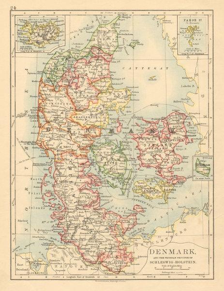 Associate Product DENMARK SLESVIG-HOLSTEN Prussian Schleswig-Holstein JOHNSTON 1892 old map