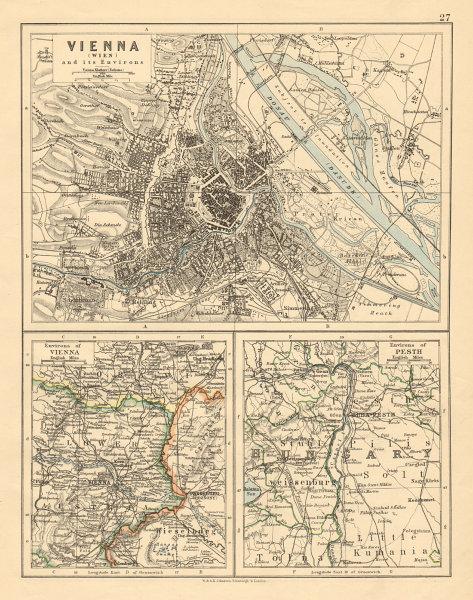 VIENNA City plan & environs Also Budapest environs Austria-Hungary 1892 map