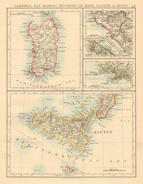 Associate Product ITALIAN ISLANDS Sardinia Sicily Ischia Capri Malta S Marino JOHNSTON 1892 map