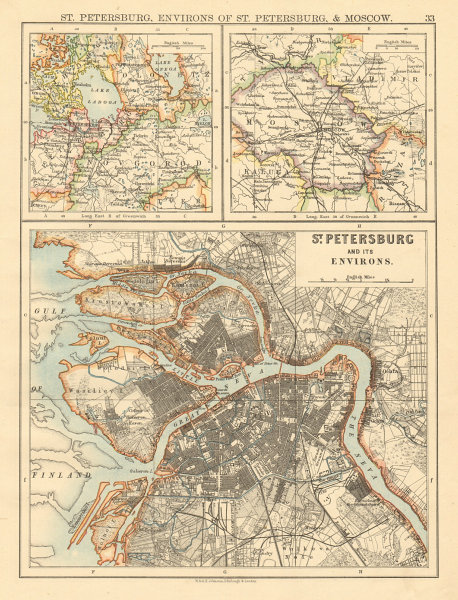 Associate Product ST PETERSBURG town city plan & environs + Moscow environs JOHNSTON 1892 map