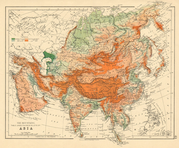 Associate Product ASIA PHYSICAL Relief Mountain heights Ocean depths Rivers JOHNSTON 1892 map