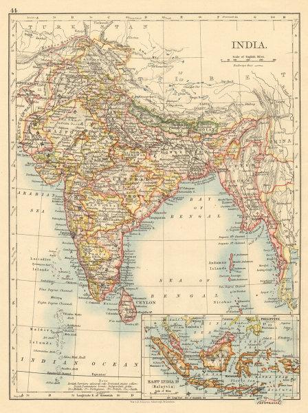 Associate Product BRITISH INDIA Showing states Burma Nepal Bhutan Ceylon JOHNSTON 1892 old map