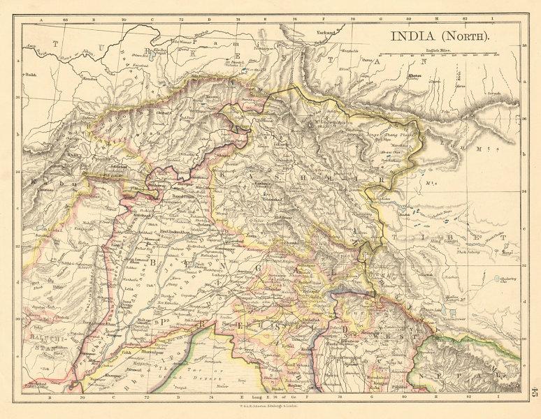 Associate Product BRITISH INDIA NORTH Jammu Kashmir Punjab Himalayas JOHNSTON 1892 old map