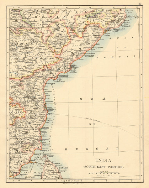 Associate Product BRITISH INDIA SE Madras Karnatak French Karikal Pondicherry JOHNSTON 1892 map