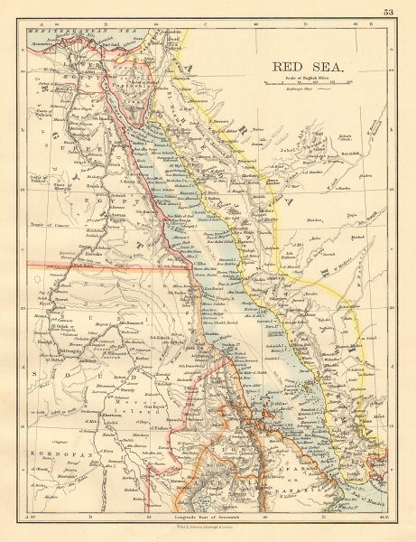 Associate Product RED SEA Egypt Eritrea Hedjaz Asir Yemen Nile valley Sinai JOHNSTON 1892 map