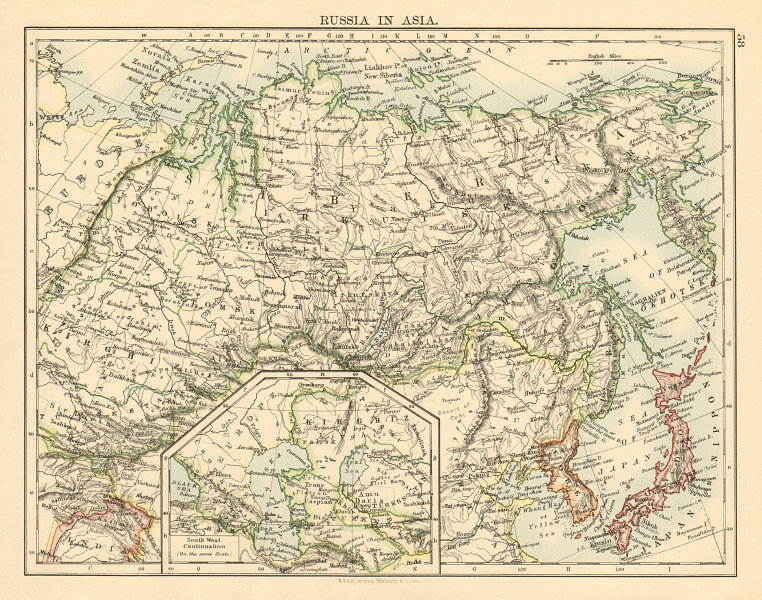 Associate Product RUSSIA IN ASIA Siberia Caspian & Aral seas Korea Japan JOHNSTON 1892 old map
