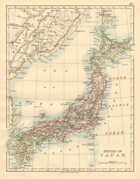 "Islands of JAPAN. Hachijo ""penal settlement"". Manchuria JOHNSTON 1892 old map"