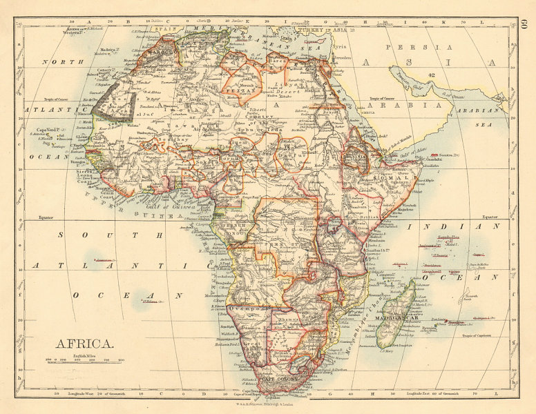 Associate Product COLONIAL/TRIBAL AFRICA British East/Central/South Africa JOHNSTON 1892 old map