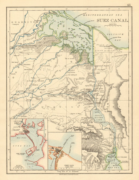 Associate Product SUEZ CANAL Plan of the canal. Plans of Suez & Port Said JOHNSTON 1892 old map