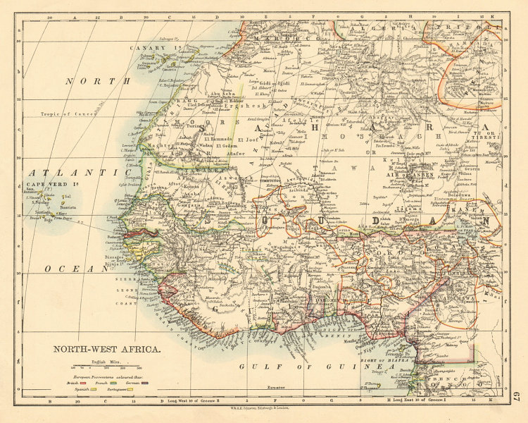 Associate Product COLONIAL WEST AFRICA Tribal areas Caravan routes Grain Gold Slave Coast 1892 map
