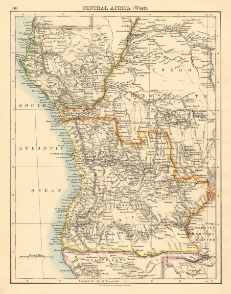 Africa Map Angola.Colonial Central Africa French Congo Free State Angola Johnston 1892