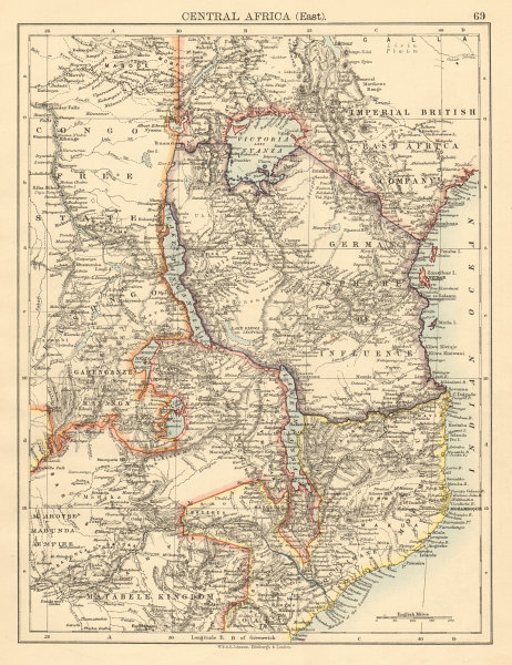Associate Product COLONIAL EAST AFRICA German/British/Portuguese East Africa Tanzania 1892 map