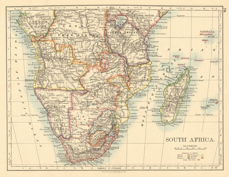 Associate Product COLONIAL SOUTHERN AFRICA German/British/Portuguese/French JOHNSTON 1892 map