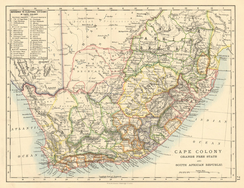 COLONIAL South African Republic Cape Colony Orange Free State JOHNSTON 1892 map