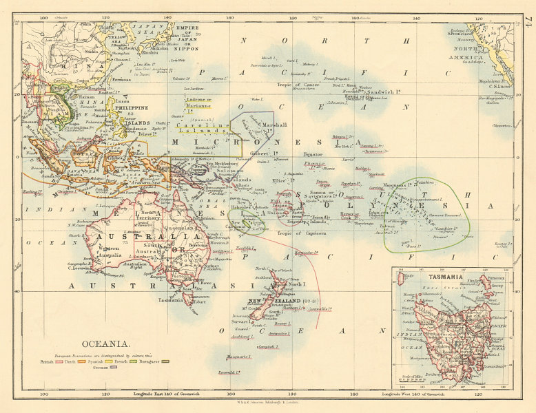 Associate Product COLONIAL OCEANIA PACIFIC British Dutch Spanish French German Port  1892 map