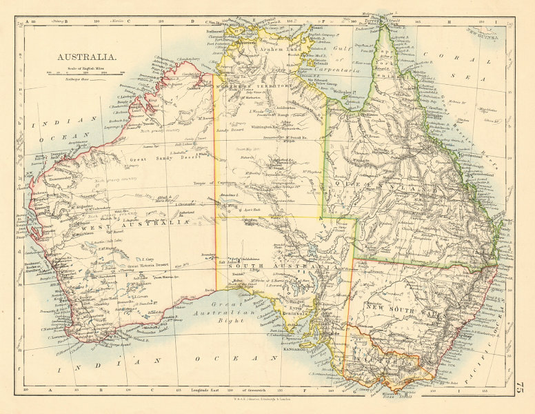Associate Product AUSTRALIA States Showing Northern Territory within SA JOHNSTON 1892 old map