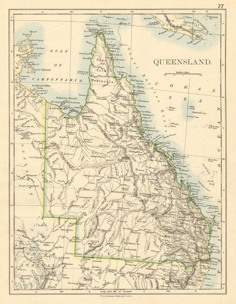 Associate Product QUEENSLAND State map Brisbane Gold Coast Railways Australia JOHNSTON 1892