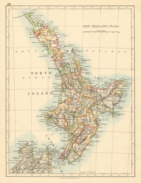 Associate Product NORTH ISLAND NEW ZEALAND Showing counties telegraph cables JOHNSTON 1892 map