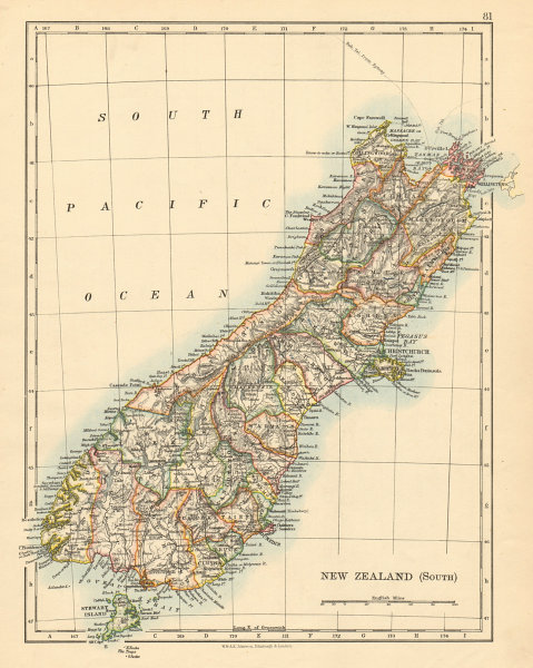 Associate Product SOUTH ISLAND NEW ZEALAND Showing counties Telegraph cables JOHNSTON 1892 map