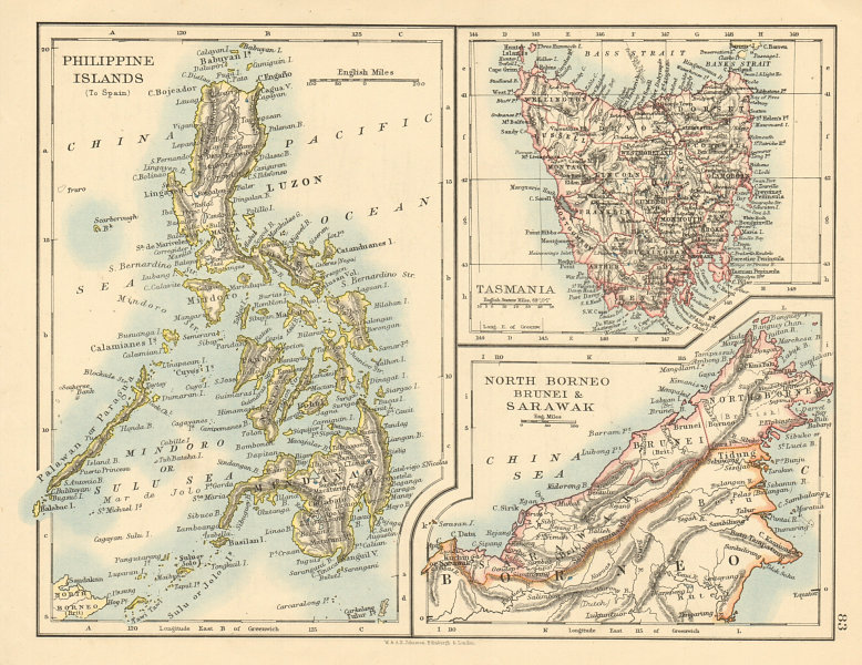 Associate Product EAST ASIA Philippines Tasmania North Borneo Brunei Sarawak JOHNSTON 1892 map