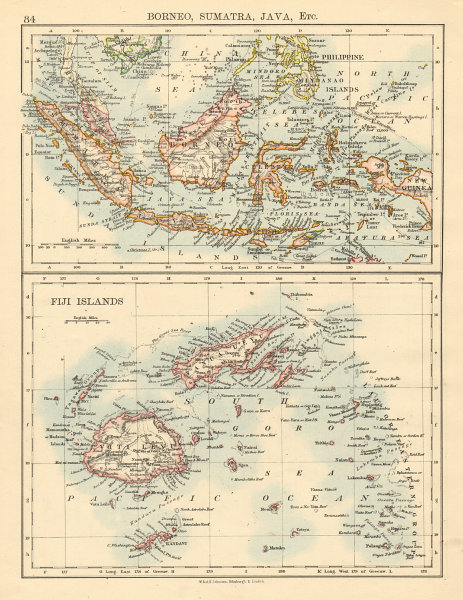 Associate Product INDONESIA & FIJI Sunda Islands Borneo Java Sumatra Viti/Vanua Levu 1892 map