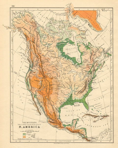 Associate Product NORTH AMERICA PHYSICAL Relief Key mountains heights Ocean depths  1892 old map