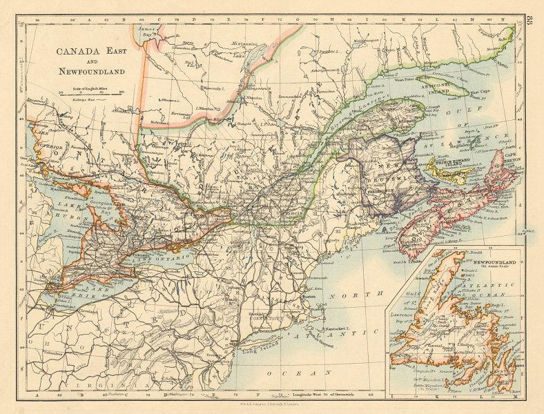 Associate Product EASTERN CANADA Ontario Quebec Maritime Provinces NB PE NS JOHNSTON 1892 map
